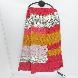 NWT Bebe Bubble Knit Pink Scarf Pink Yellow Large